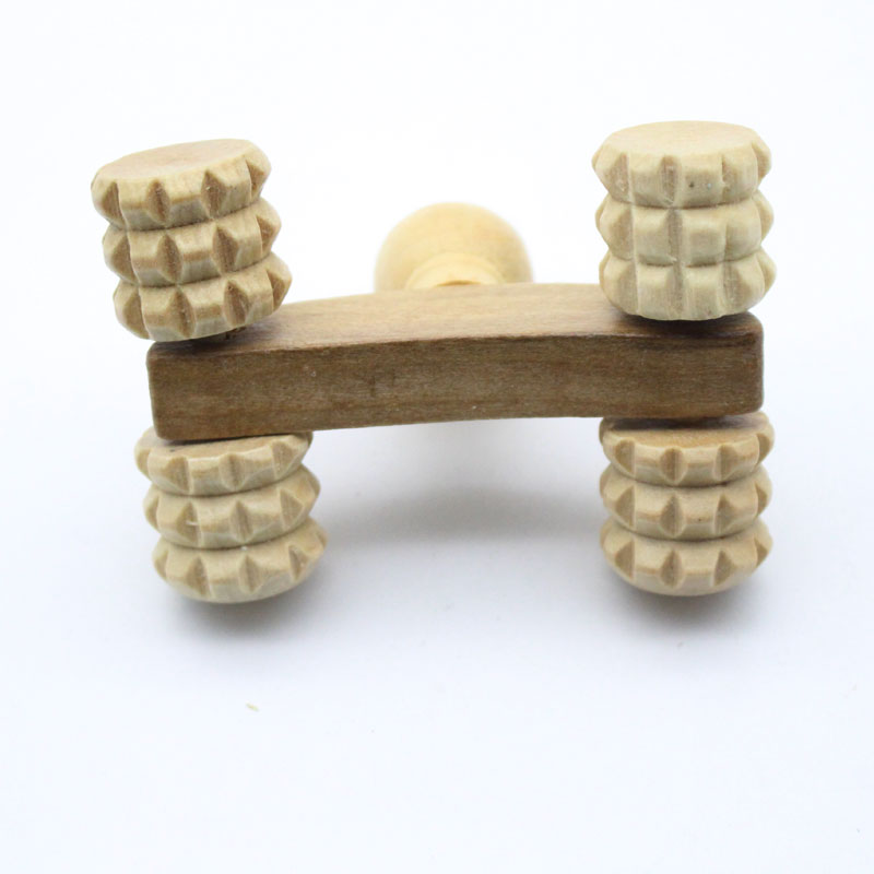 Solid Wood Full-body Four Wheels Wooden Car Roller Relaxing Hand Massage Tool Reflexology Face Hand Foot Back Body Therapy 2