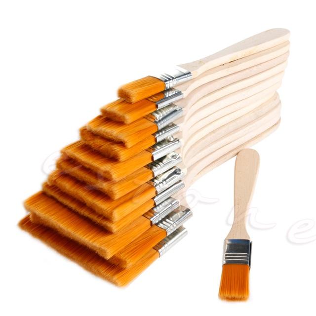 12 piezas de madera pintura al óleo pincel artista acrílico acuarela pintura arte herramienta de suministro