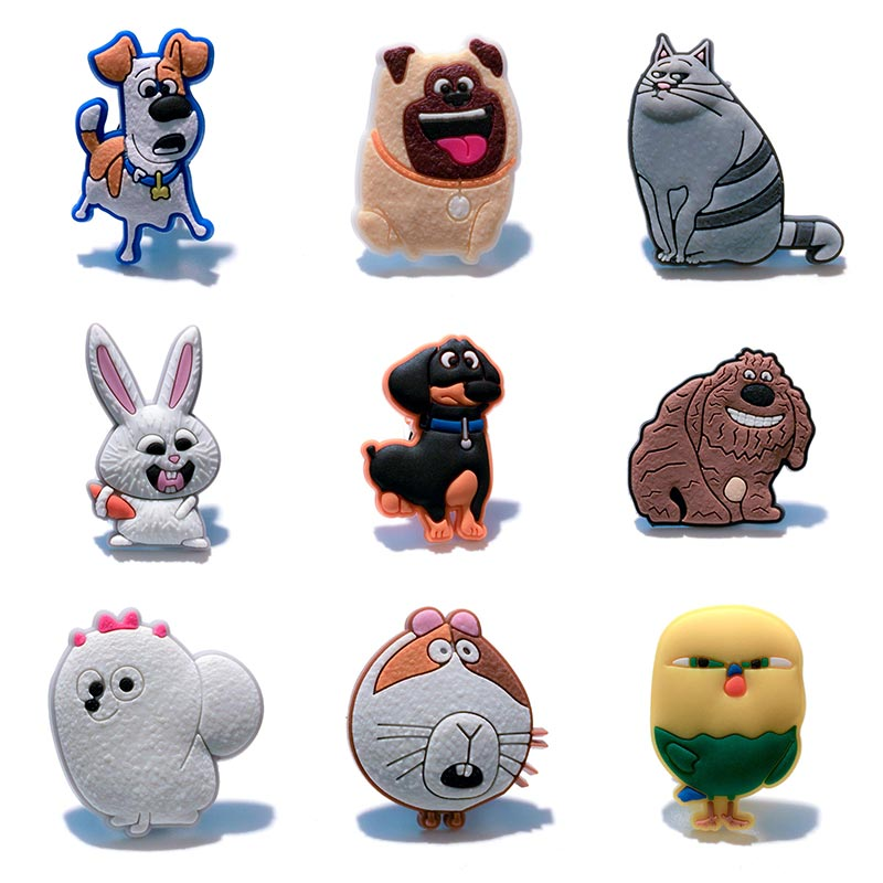 Single Sale 1pc the Secret Life of Pets PVC shoe charms shoe accessories shoe decoration for croc jibz Kid's Party X-mas Gift росмэн пакет подарочный the secret life of pets 230 180 100