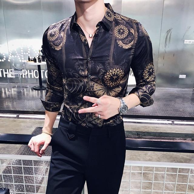 3ba237cfba9 Gold Black Shirt Men 2018 New Autumn Long Sleeve Button Down Party Club Shirt  Men Designer Camisa Masculina Casual Shirt 3xl