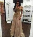 Oro vestidos de baile largo 2017 sweetheart fuera del hombro vestido de noche del partido del cordón dress