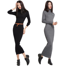 2019 Autumn Winter Women's Vintage Turtleneck Cashmere Wool Dress Long Sleeve Thickening Maxi Knitted Sweater Dresses Bodycon