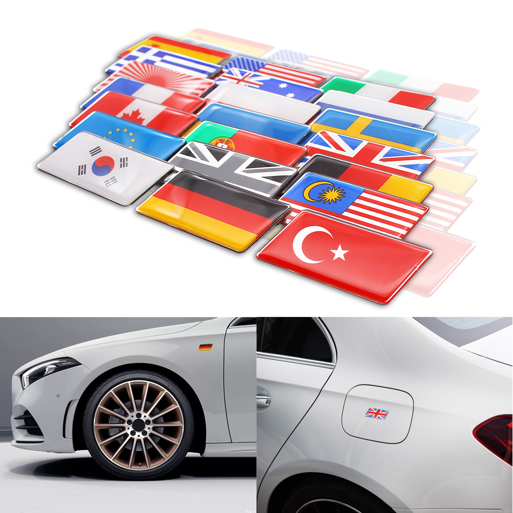Aluminum alloy epoxy Germany England Australia France Russia Spain Sweden Canada Flag Grille Badge Sticker National Emblem Decal