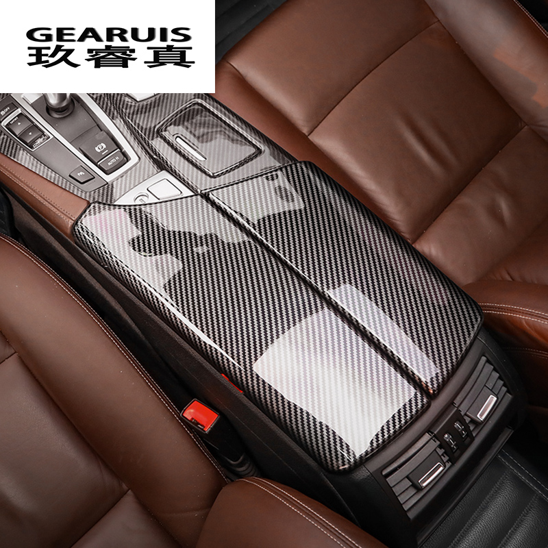 Car Styling Carbon Fiber Multimedia Gear Armrest Box Panel Cover Sticker Trim For BMW 5 Series F10 F18 Interior Auto Accessories