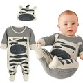 2017 Novo estilo de meninos roupas de bebê Zebra cinza longo-manga comprida macacão + chapéu do bebê adequado para 0-24 mês das crianças roupa dos miúdos Romper
