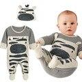 2017 Nuevo estilo de los bebés ropa Cebra gris mono de manga larga + sombrero del bebé adecuado para 0-24 mes niños embroma la ropa del Mameluco