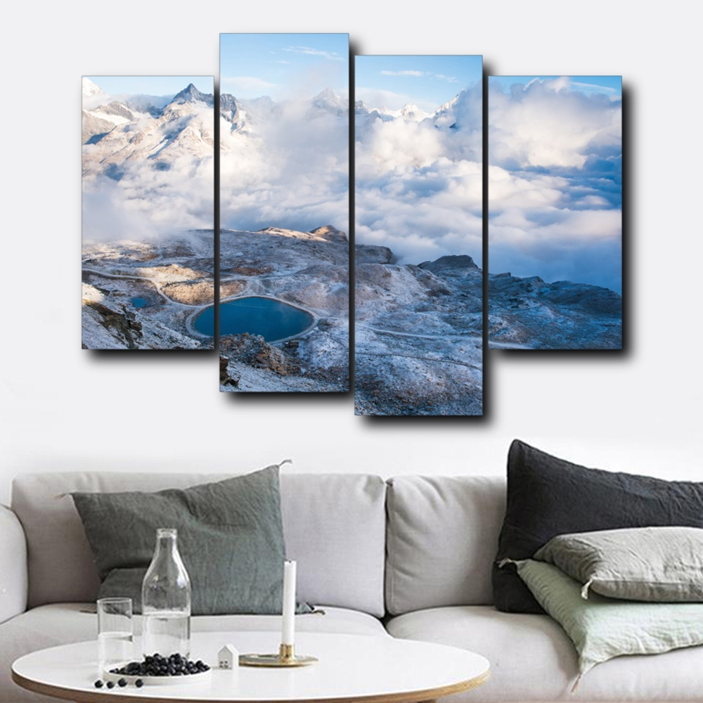 Aerial Cloudy Scenery Wall Pictures Poster Print Canvas Painting Calligraphy Decorative for Living Room Bedroom Home Decor in Painting Calligraphy from Home Garden