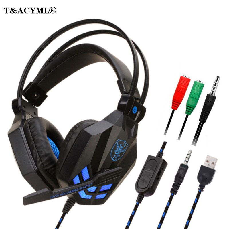 Gaming Headset with LED light Stereo Gamer Headphones 3.5mm wired Over-ear Noise