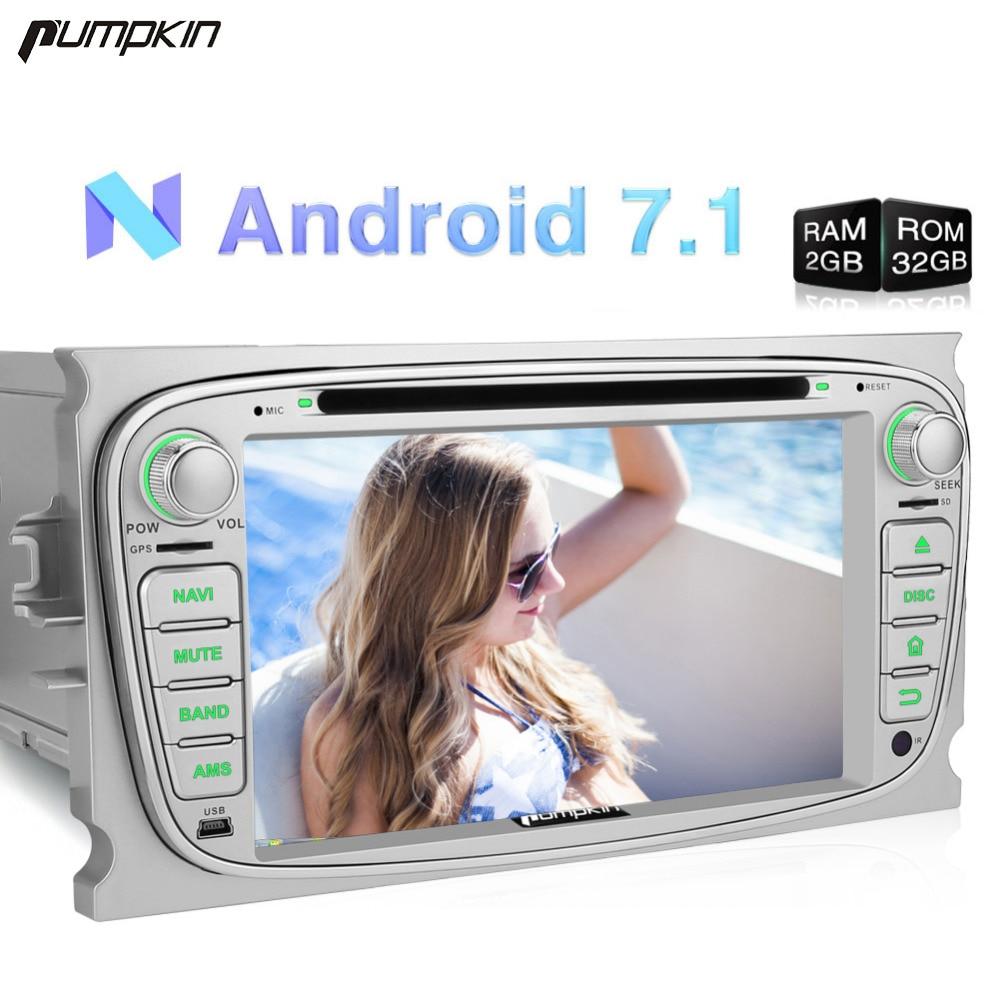 Citrouille 2 Din Android 7.1 lecteur dvd De Voiture navigation gps 2G + 32G Quad-core Stéréo Pour Ford Mondeo /Focus FM Rds Radio Wifi Headunit