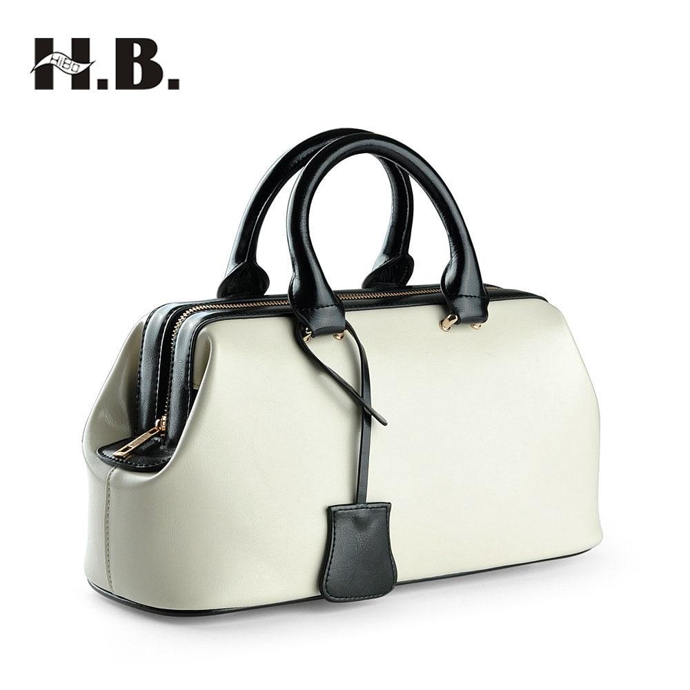 HIBO 2017 Genuine Leather Bags Dollar Price Luxury Handbags Women Bags Designer Famous Brands Vintage Doctor Messenger Bags