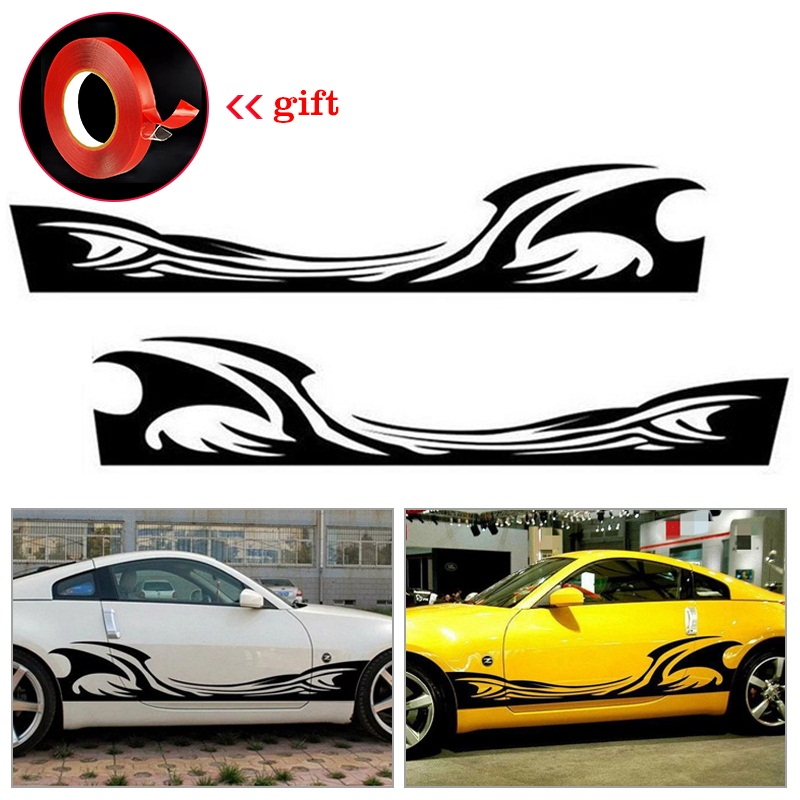 Decals & Stickers 2pcs JDM Speed Flame Fire Totems HF Car Side Door Fender Vinyl Stickers Decals