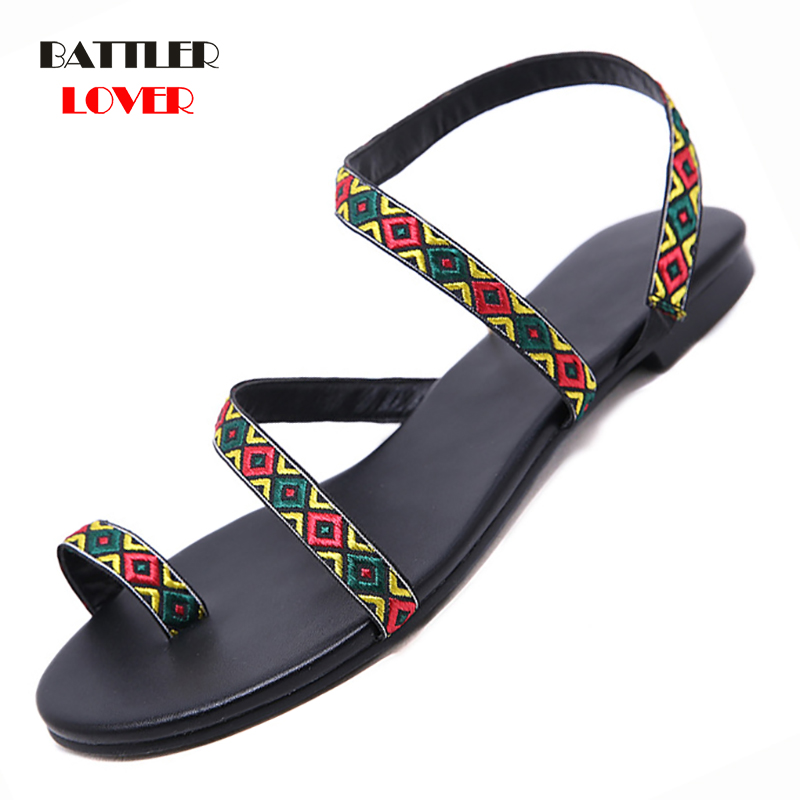 Plus Size 35-42 Thong Sandals Summer Women Flip Flops Weaving Casual Beach Flat Sandal Shoes Rome Style Female Sandals Low Heels