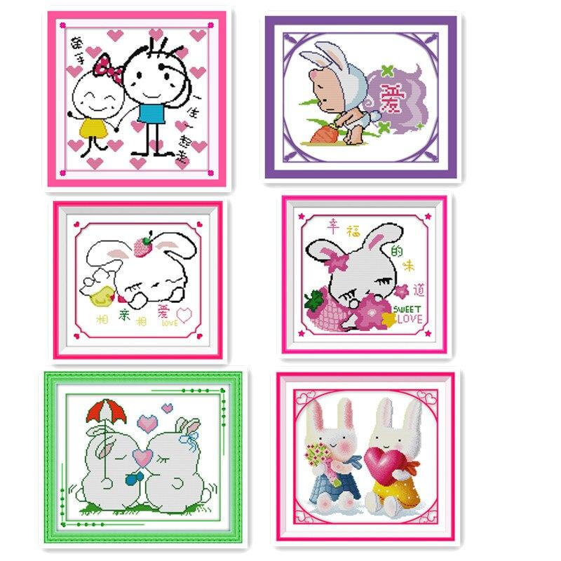 Joy Sunday Small handmade cross stitch Kit Cute Cartoon Bunny Beginner Child Child Interest Class Simple embroidery Painting