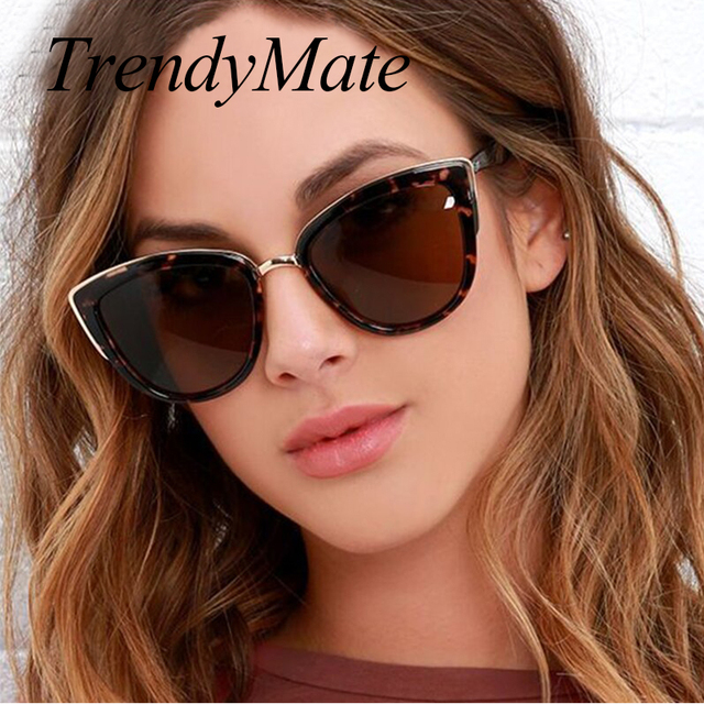 Горячая мода кошачий глаз солнцезащитные очки женщин ретро Половина металлический каркас очки бренд Дизайн Винтажные Солнцезащитные очки женский заклепки оттенки 608 м