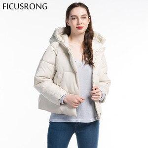 Image 4 - Fashion Solid Female Cotton Padded Autumn Jacket Parkas Women Hooded Winter Jacket Women Warm Thick Zipper Bread Coat FICUSRONG