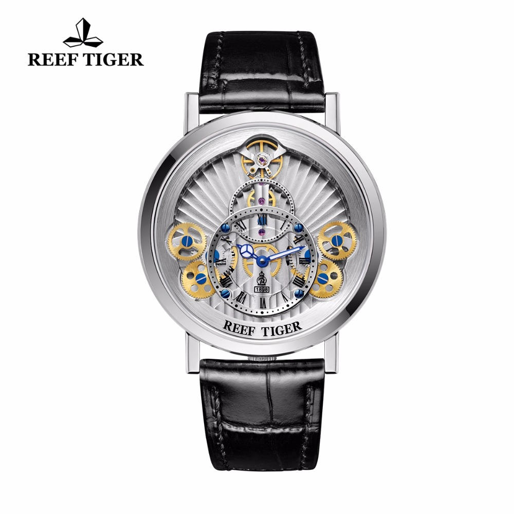 2018 Reef Tiger Luxury Brand Watches Men's Steel Gear Wheel Dial Quartz Fashion Watches RGA1958