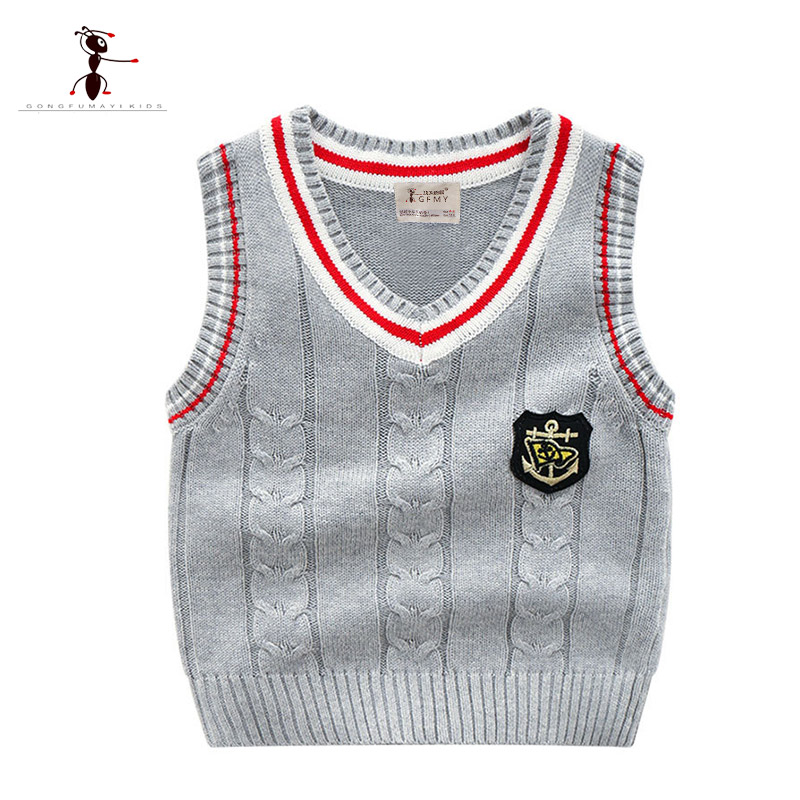 Kung Fu Ant 2018 New Arrival Casual Autumn Boys Vest Sweaters for Boys V-neck Cotton Knitted Kids Infantil Clothes Baby Tops 345