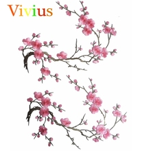 New Arrivals 1Pcs Asian Cherry Blossom Sakura Flower Iron on Embroidered Appliques Patch