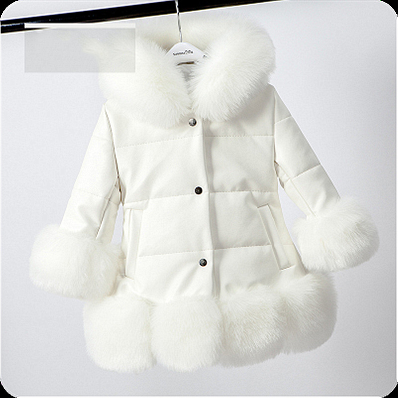 цена Children's clothing children's fur jacket girls imitation fox fur PU leather jacket autumn and winter new baby thick cotton coat