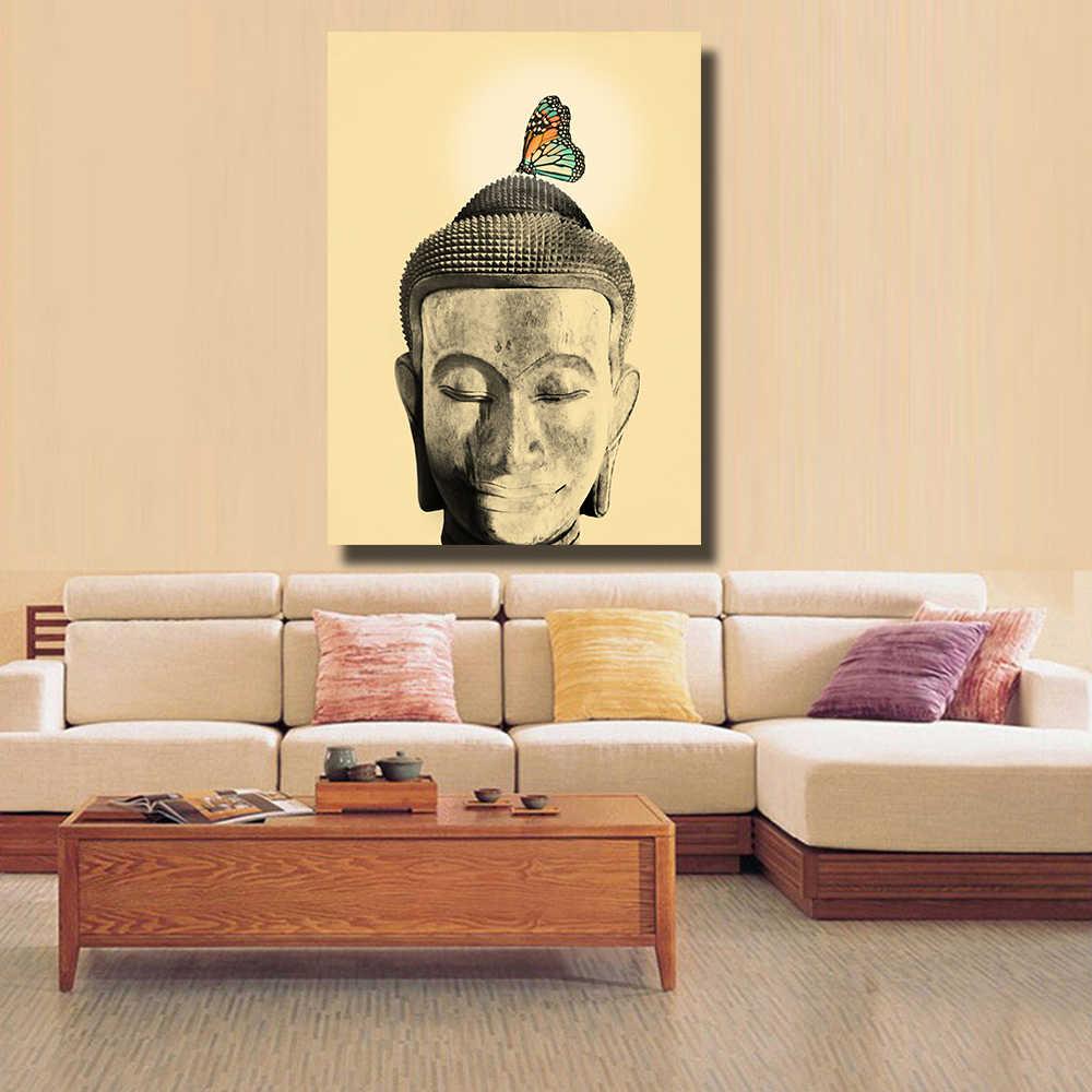 Qkartホーム装飾キャンバスプリントHD2632仏ヘッドオイル絵画スタイル写真上のキャンバス壁アート用リビングルーム寝室
