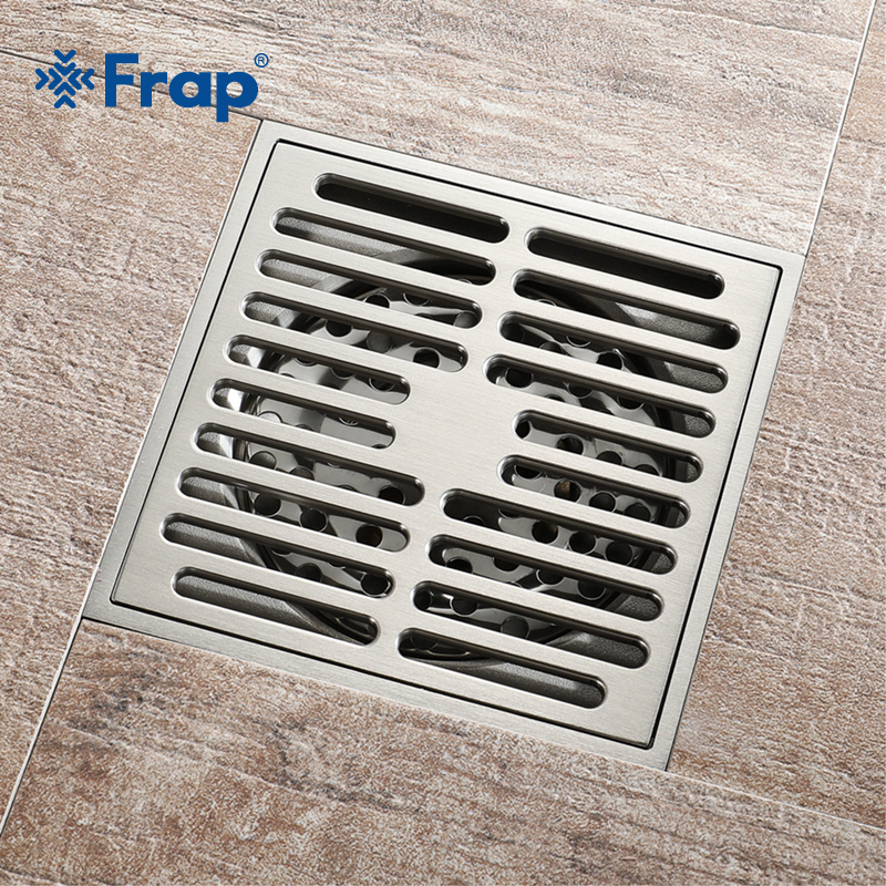 Frap Bathroom drain Brass Square Shower room Floor Drain Trap Waste Grate With Hair Strainer anti smelly drains 10cm*10cm Y38108 shower drain 10cm 10cm push down pop up drain strainer chrome brass square drainer floor drain waste grate bath accessories 8608
