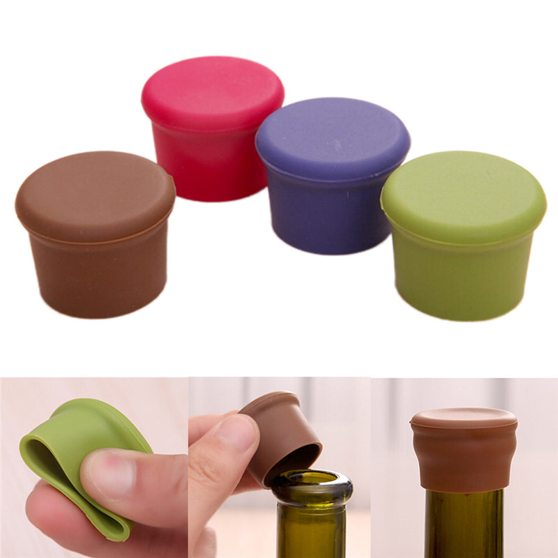 Aihogard 2pcs Wine Bottle Stopper Silicone Bar Tools Fresh Keeping Bottle Cap Kitchen Champagne Beverage Closures