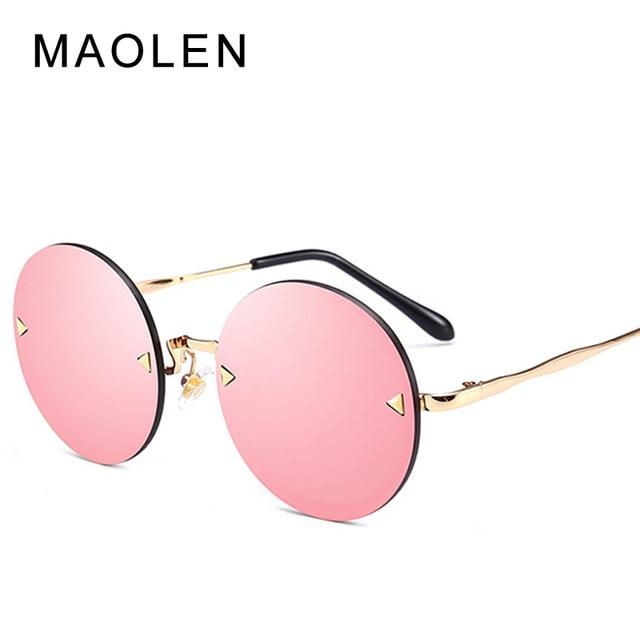 06f0cdb8e7a MAOLEN Brand Designer Oversized Round Sunglasses Women 2018 Shade Frame  Retro Arrow Mirror Sun Glasses Gafas