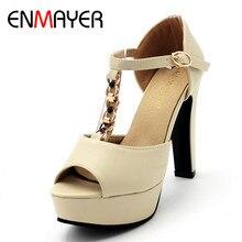 Фотография ENMAYERNew Womens Shoes Woman Extrme High Heels Peep Toe T-strap Summer Sandals Party Wedding Shoes Pumps Plus Size 34-43