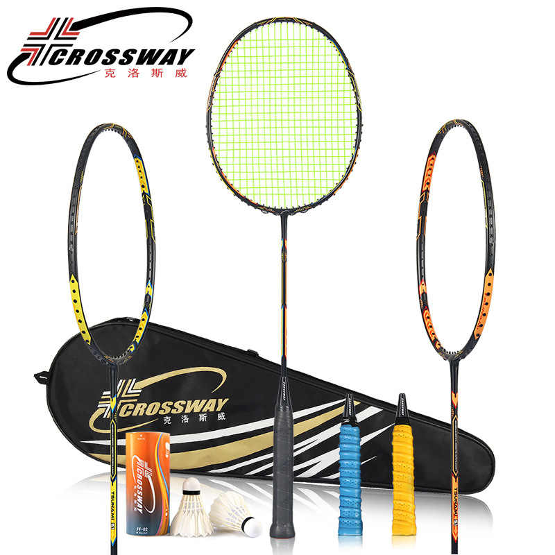 CROSSWAY 2 Pcs Carbon Badminton Rackets Set Double Game International Badmintonrackets Equipment Ball Racquet Beat With Bag Grip