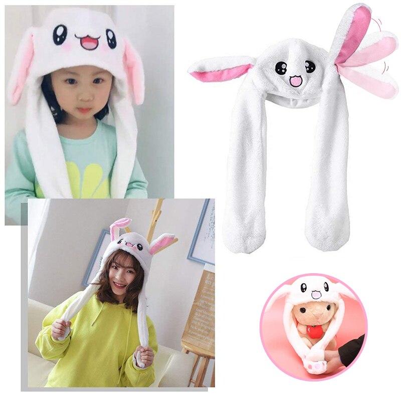 Crianças meninas animais orelha movendo jumping chapéus quente de pelúcia coelho crianças inverno bonés bonito coelho fuzzy pitada airbag engraçado chapéus