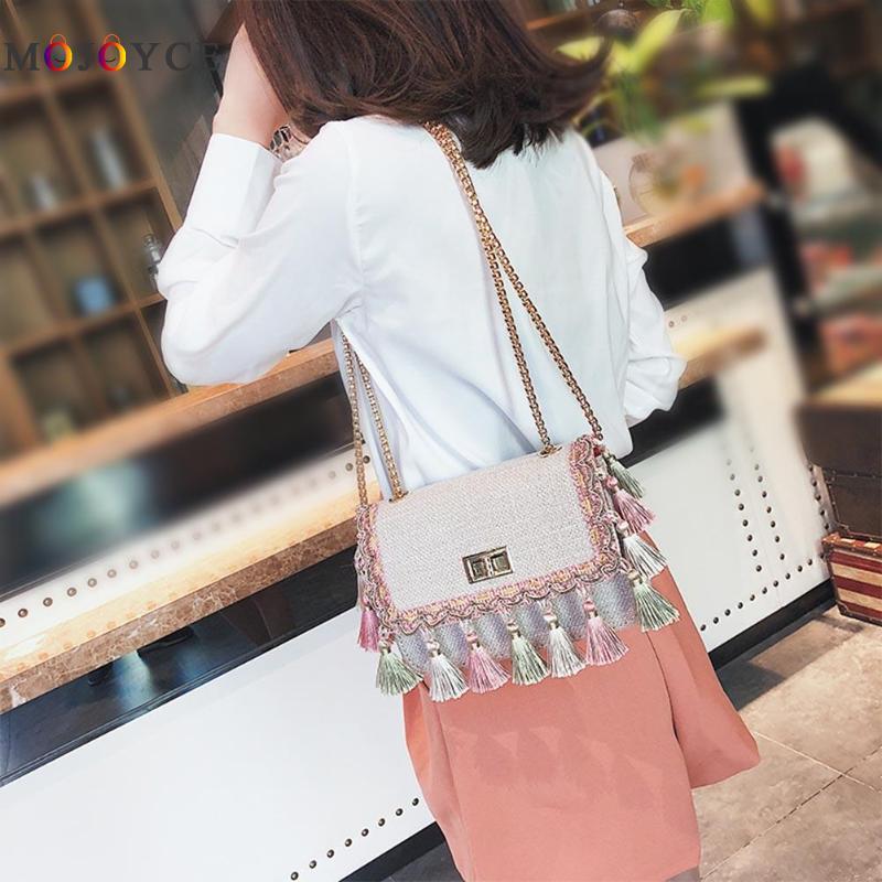 Bohemian Tassel Flap Women Bag Girls Chain Strap Small Shoulder Bag Ladies Crossbody Bags bolsos mujer de marca famosa 2018