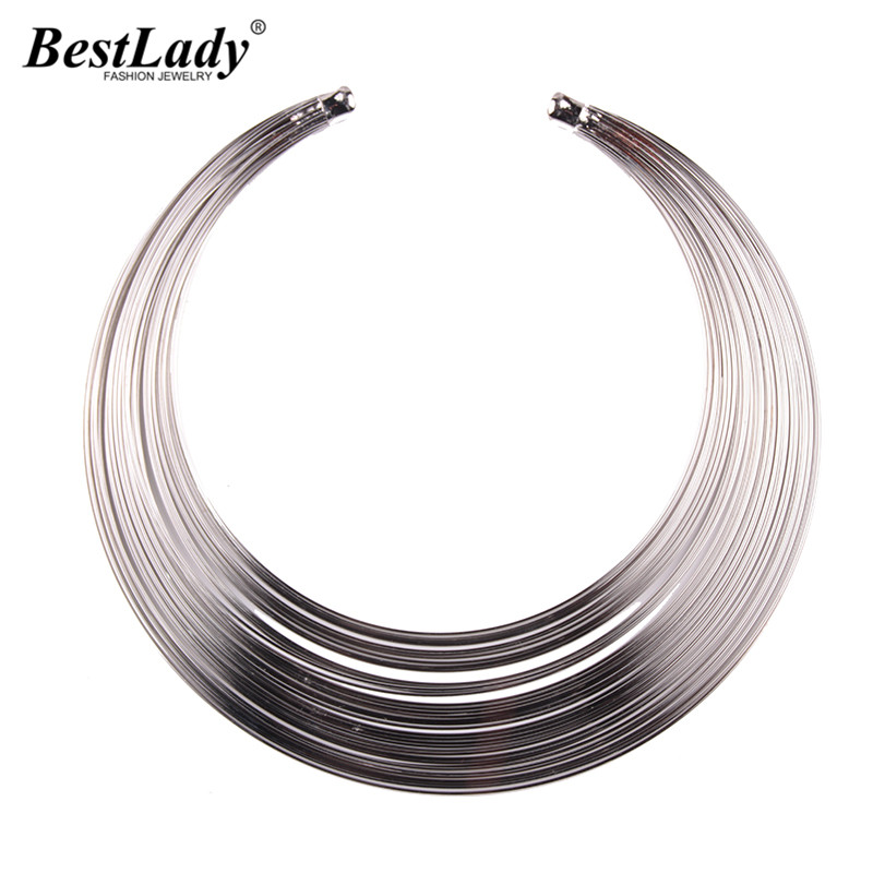 Best lady Vintage Layer Maxi Necklace for Women Hot Brand New Design Metal Collar Choker ...