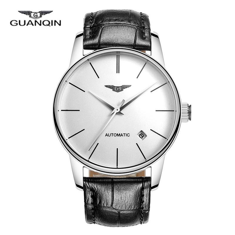 Prix pour GUANQIN Saphir Montre sport Hommes En Cuir véritable Ultra-mince montre-bracelet homme Automatique Mécanique simple Montre-Bracelet réveil heures