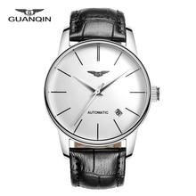GUANQIN Zafiro Hombres Reloj ocasional reloj masculino Mecánico Automático de Cuero genuino ultrafino simple Reloj de pulsera de reloj horas