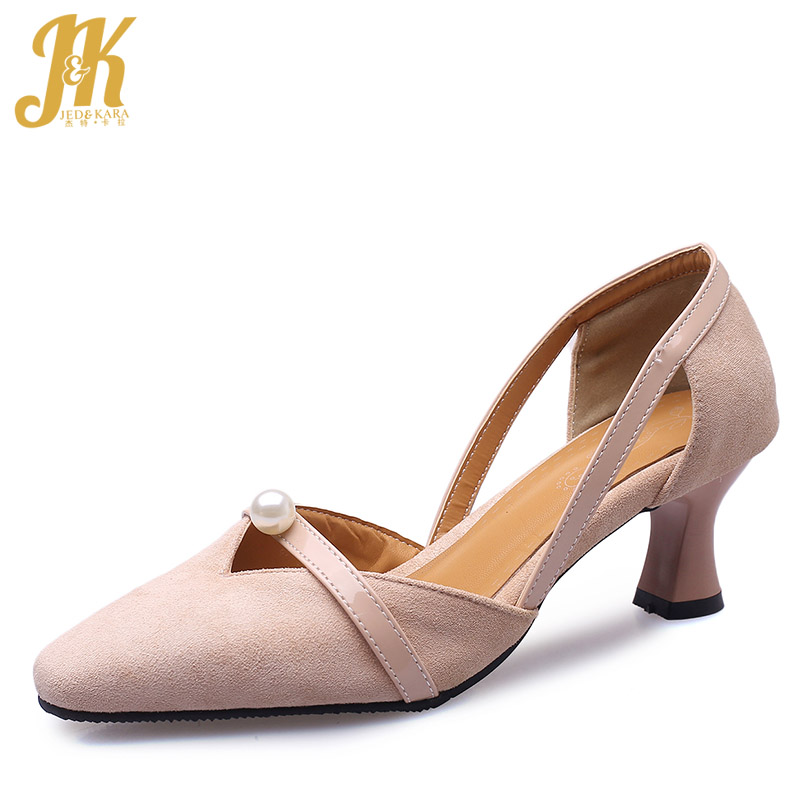 Women Pumps Flock-Shoes High-Heels Female Thick Plus-Size Square Toe Party New JK Spring