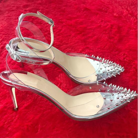 Pic Parti Pointu as As 8 Clair Pompes Chaude Femmes Haute Cm Goujons Escarpins Pvc Chaussures Rivets Talons Date Boucle Pic Cheville Boucles 10 Bout xUq1vBRw