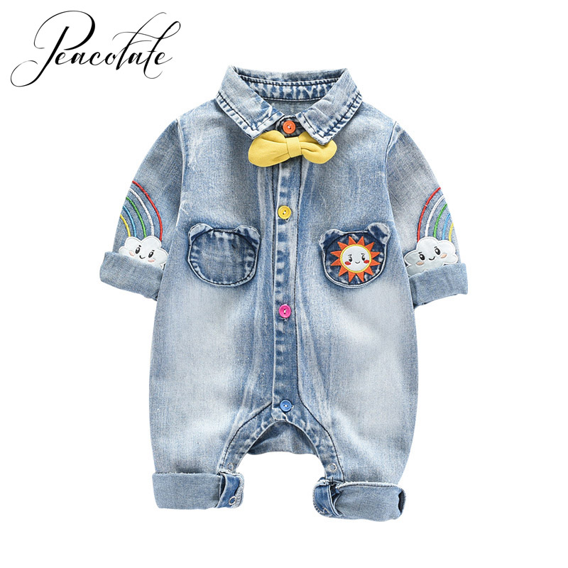 Spring Autumn Kids Children Infant Little Baby Boys Denim One Piece Suit Long Sleeve Soft Thin Rompers Bibs
