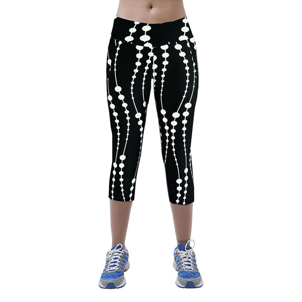 High Waist Fitness Yoga Sport Pants Printed Stretch Cropped Leggings Trousers Elastic Capris Outdoor Sport PantsSweatpants