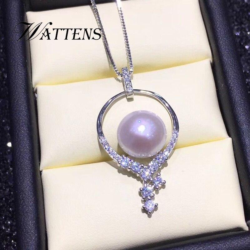 925 collana in argento sterling per le donne Naturale d'acqua dolce 10-11mm collane di perle pendenti Zircone catena nuziale dei monili Della Boemia