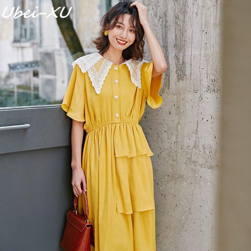 Ubei 2019 mode dentelle col à manches courtes robe d'été femmes jaune en mousseline de soie longue robe frais à volants manches robe