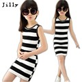 Children Girls' Clothing Black And White Stripes Summer Girl Dress 100% Cotton 3-14 Years Kids Vest Dresses For Teenage Girls