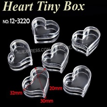 32x20mm Small Heart Box clear Storage for DIY Accessory Nail Art Jewelry beads Crafts, portable Organizer plastic container case mini clear plastic small box jewelry earplugs storage box case container bead makeup clear organizer gift