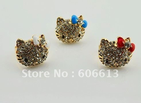 Free shipping,new  Lovely crystal hello kitty rings, high quality gold plated cat ring,adjustable size,12pcs/lot