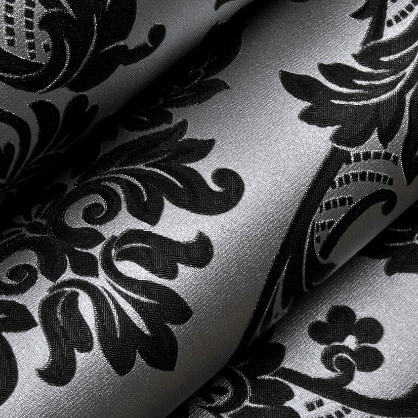 Viktorianischen Moderne Vinyl Schwarz Silber Damast Tapete Klassische  Strukturierte Tapeten Für Schlafzimmer Sofa Hintergrund Decor In  Viktorianischen .