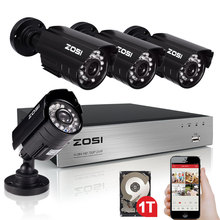 ZOSI 1.0MP HD 8CH 720P HDMI DVR Recorder 4PCS 1200TVL Outdoor Weatherproof Home CCTV Security Camera System 8CH DVR Kits HDD 1TB