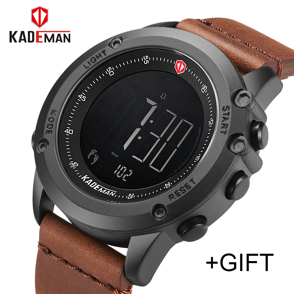 c91b1793a77 KADEMAN Military Sports Men s Watch Digital Waterproof Steps Counter Leather  Clock Top Luxury Brand LED Mens