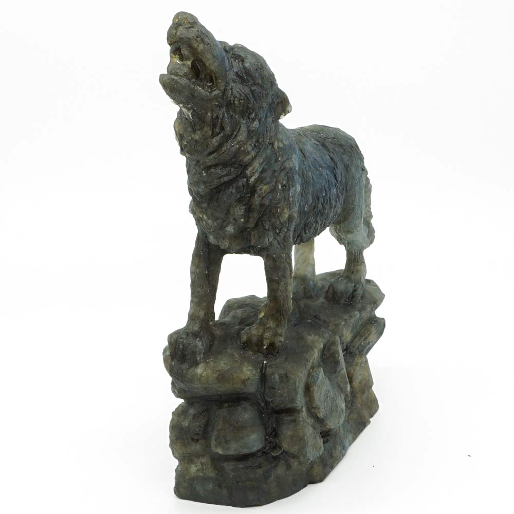 7 68 quot Flash Labradorite Wolf Figurine Hand Carved Animal Totem Statue Crystal Healing Home Office Decor in Stones from Home amp Garden