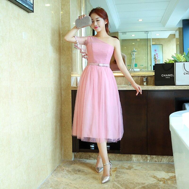 Damas de honor vestidos de longitud de té elegante rosa claro bata ...