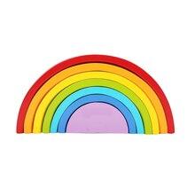 BOHS Wooden Rainbow Stacker 6 Color Sort Nesting Wooden Nesting Creative Building Blocks 22 13 3
