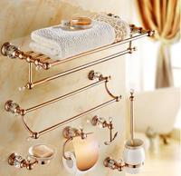 brass & Jade Bathroom Accessories Set,Paper Holder,Towel Bar,Soap basket,towel rack,towel ring, Rose Gold bathroom Hardware set